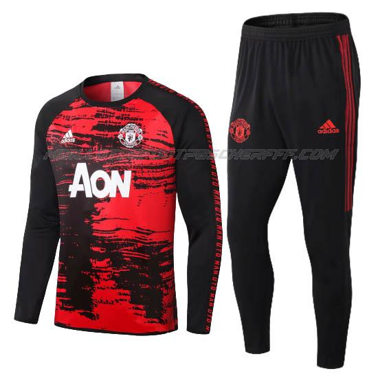 sweat manchester united noir rouge 2020-21